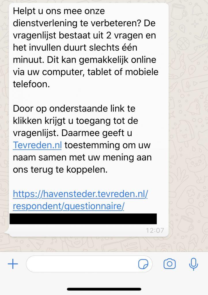 Tracebuzz tevreden whatsapp
